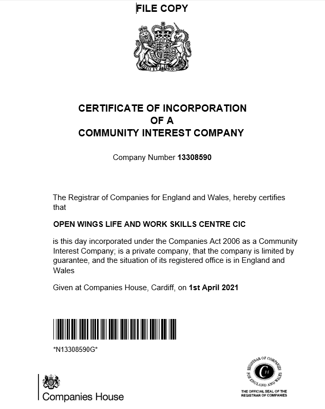 Open Wings Certificate of Incorporation CIC